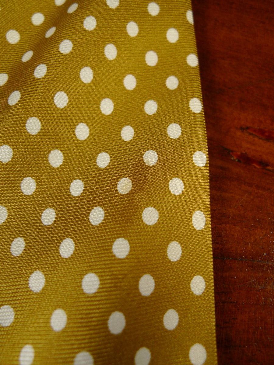 20/0943 new & lingwood gold cream polka dot SILK TIE