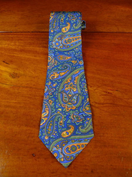 20/0941 immaculate henry poole green blue paisley pattern SILK TIE