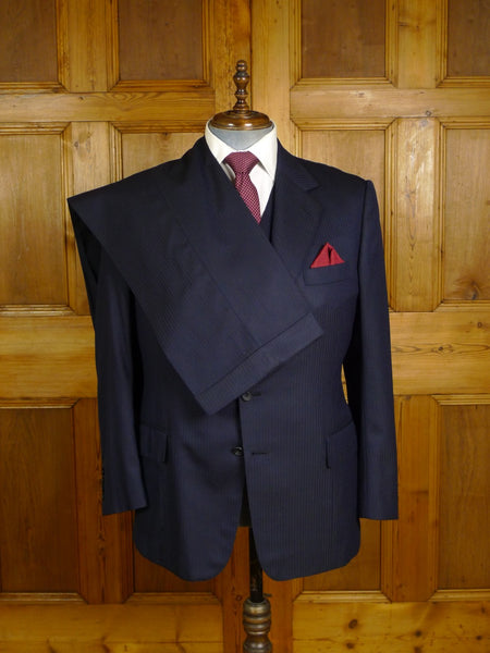 20/0966 vintage bernard weatherill savile row bespoke navy blue textured stripe 3-piece worsted suit 42 regular