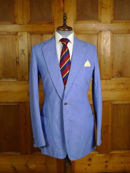 20/0964 vintage vincents of savile row bespoke canvassed pale blue cotton blazer 38-39 extra long