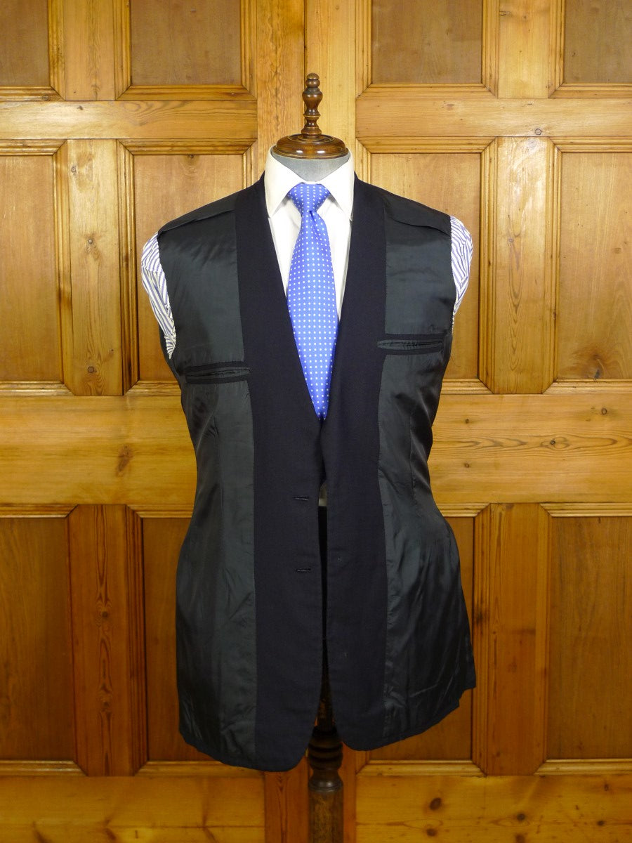 20/1008 vintage 1980 vincents savile row bespoke heavyweight navy blue worsted  twill suit 41-42 extra long