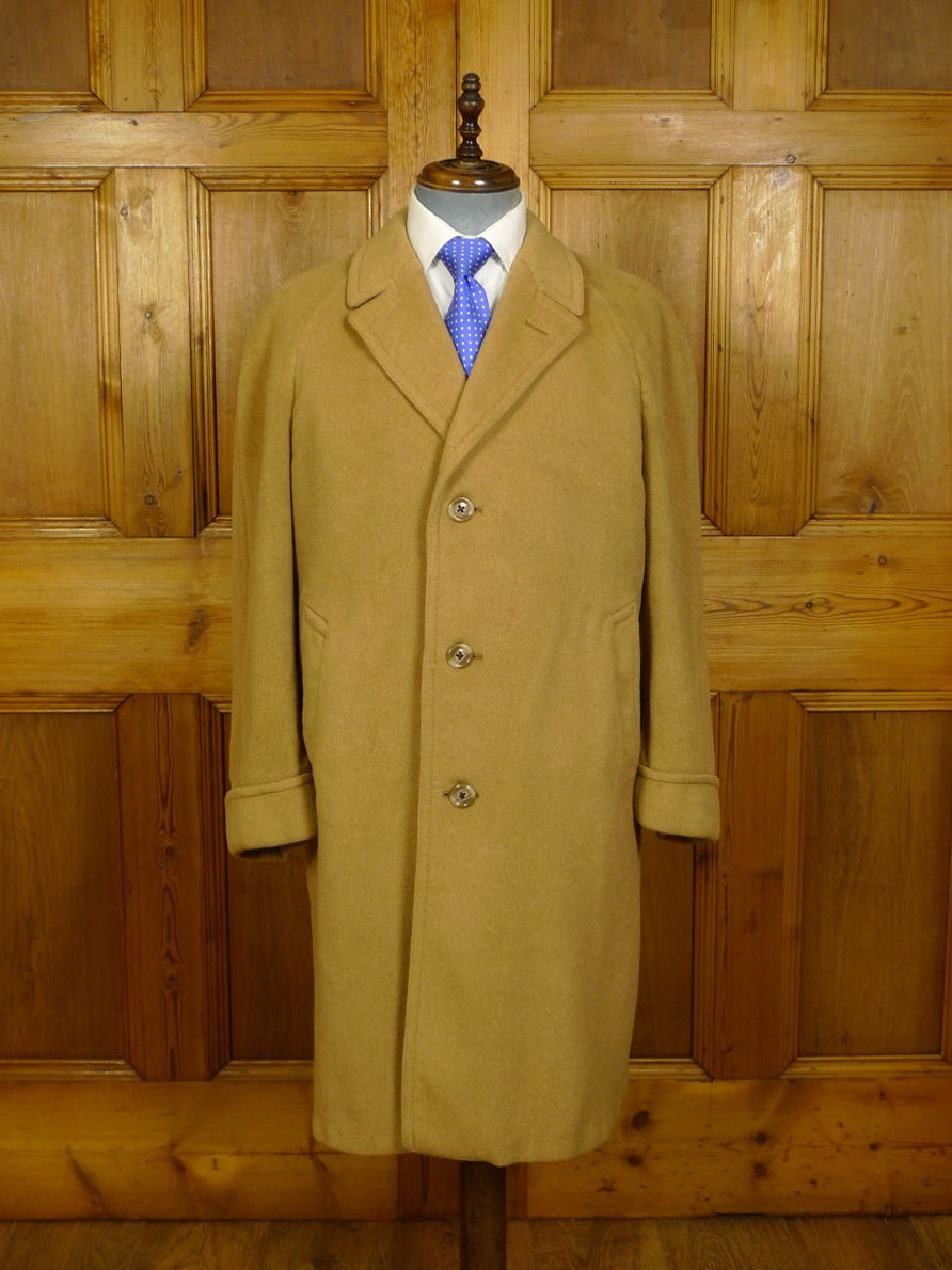 20/1046 vintage moorbrook of huddersfield heavyweight wool & cashmere raglan camel coat overcoat 42
