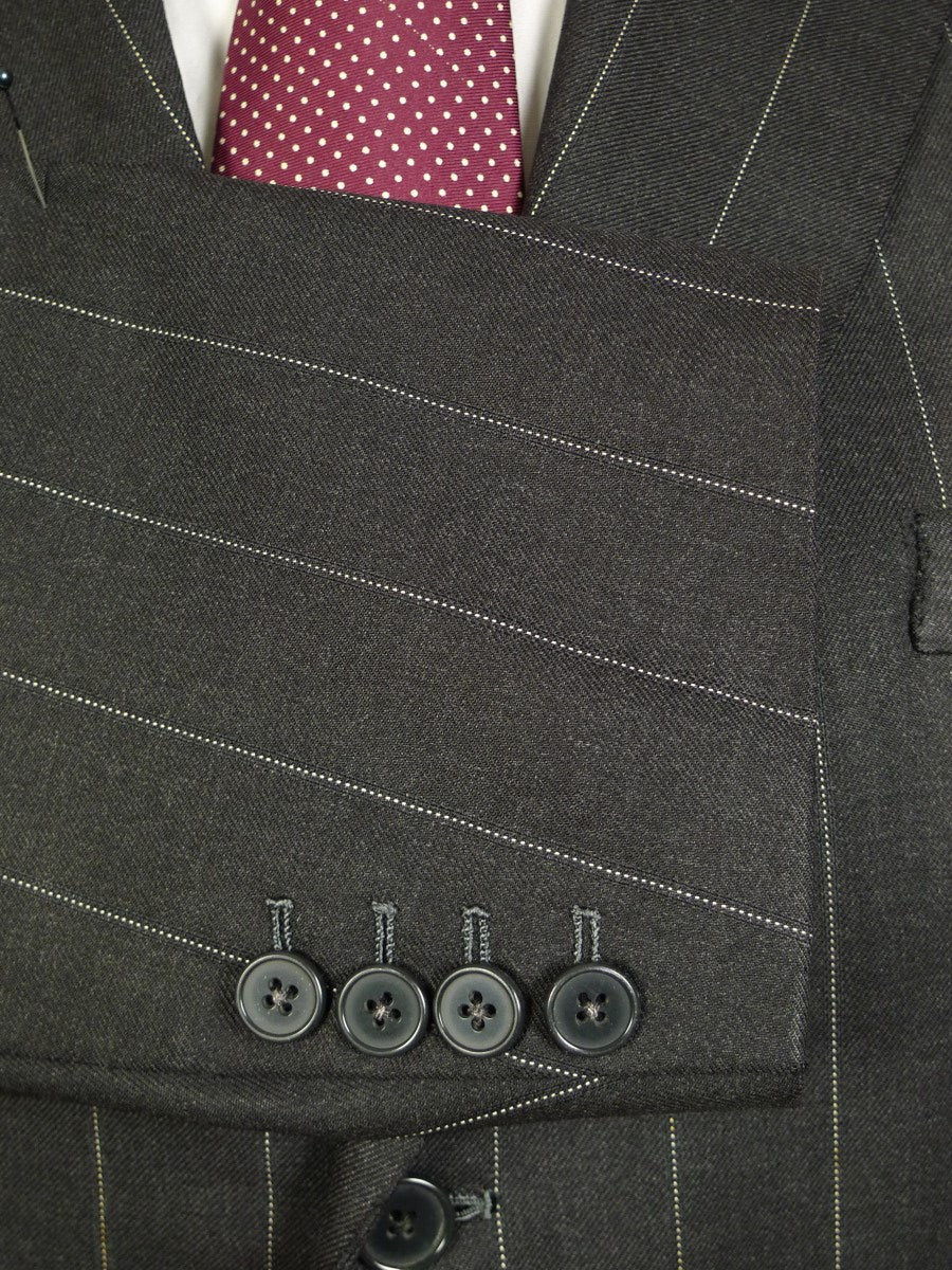 20/1163 couch & hoskin city of london bespoke grey pin-stripe worsted suit w/ 2 pairs trs 42-43 short