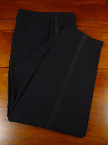 21/0121 immaculate vintage bespoke tailored high-rise black wool evening trouser 36