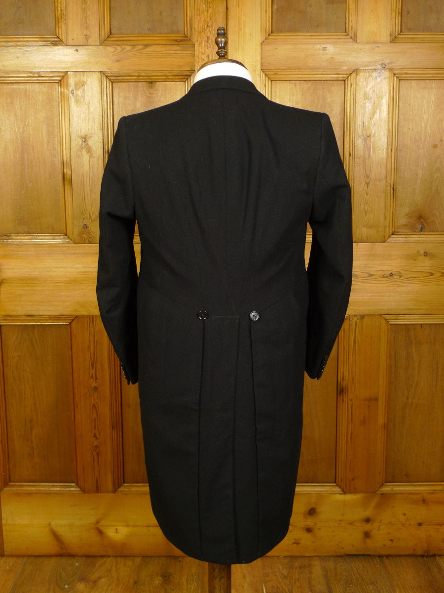 21/0002 genuine 1940s 1950s vintage black wool morning coat 37-38 regular