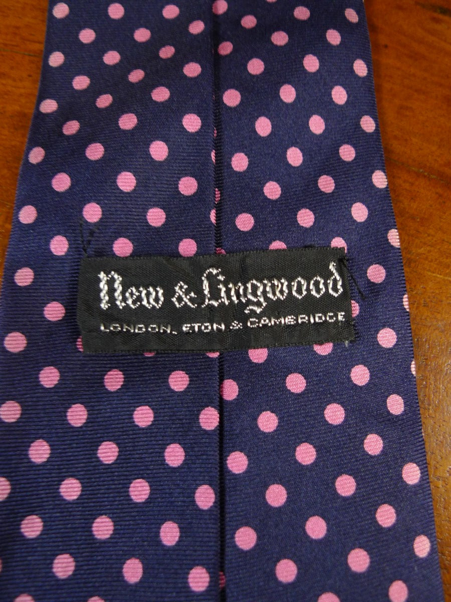 20/1189 immaculate new & lingwood blue pink polka dot SILK TIE
