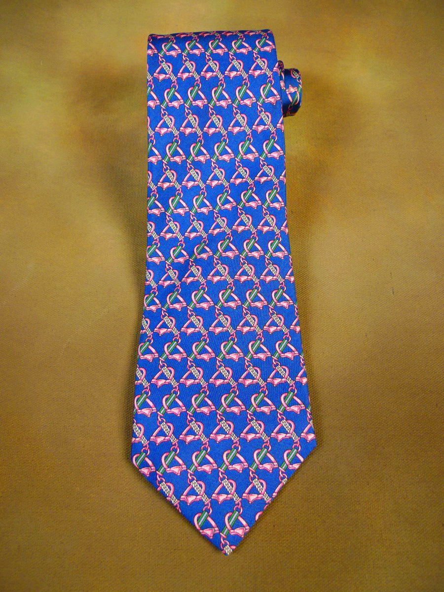 20/1212 immaculate 'pink'  blue pink equestrian motif SILK TIE
