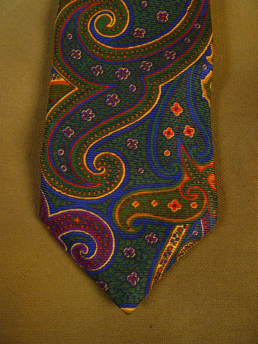 20/1224 immaculate brooks brothers green blue paisley pattern SILK TIE