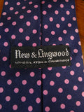 20/1232 immaculate 'new & lingwood' black & pink polka dot SILK TIE
