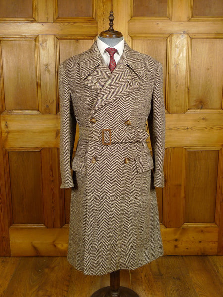 21/0022 beautiful genuine 1940s 1950s vintage savile row bespoke brown herringbone d/b tweed overcoat 40