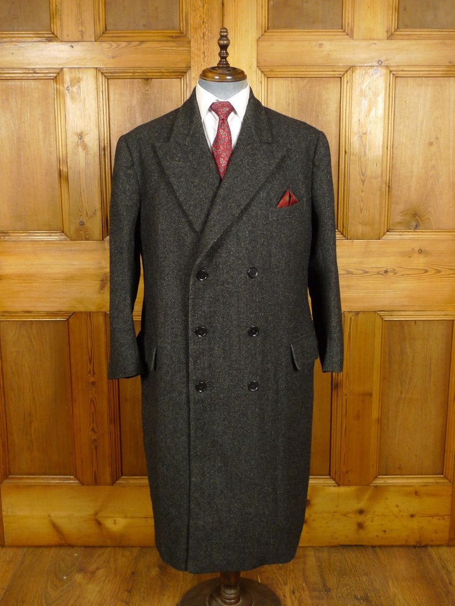21/0020 immaculate genuine 1950s vintage savile row bespoke grey twill tweed d/b king coat overcoat 44-45