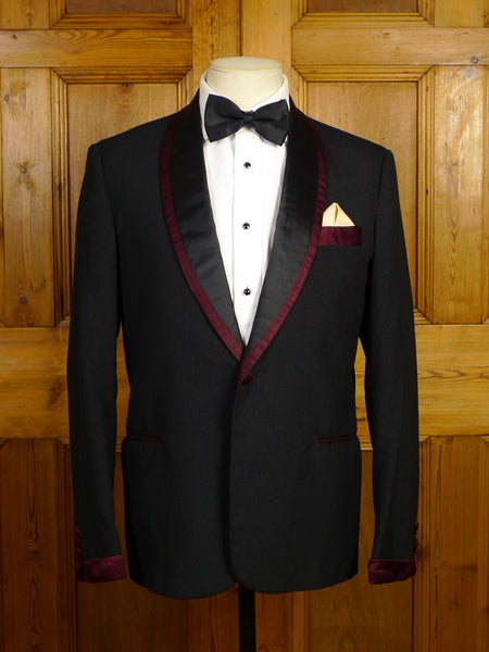 21/0032 wonderful 1960s vintage british sparkle effect dinner jacket w/ burgundy silk trims 39 short