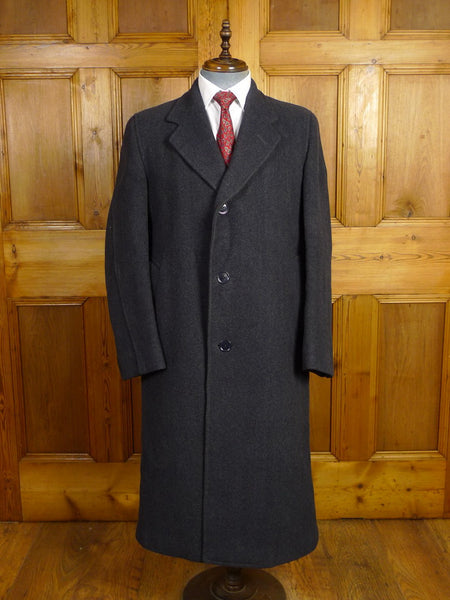 21/0063 near immaculate genuine 1940s vintage ww2 era cc41 utility mark heavyweight blue herringbone wool full-length overcoat 40-42