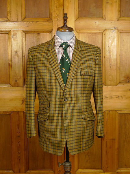 21/0101 superb 1967 vintage british bespoke tailor heavyweight gun check tweed jacket 41-42 short to regular