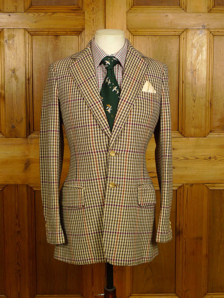 21/0126 wonderful vintage vincents of savile row gun check tweed jacket 38 long