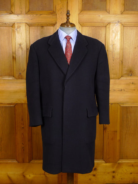 21/0128 extra heavyweight crombie wool  bespoke tailored canvassed navy blue overcoat 46-47 short