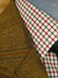 21/0208 extra heavyweight frank hall bespoke brown wp check tweed jacket 43-44 regular to long
