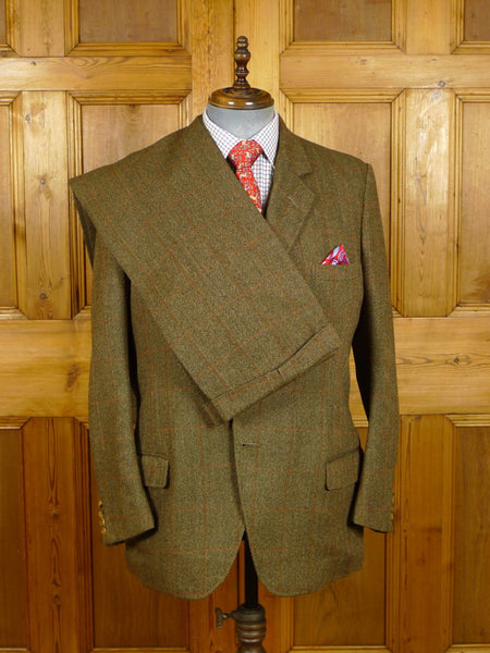 21/0210 fabulous heavyweight vintage frank hall bespoke brown wp check 3-piece tweed suit 41-42 regular to long