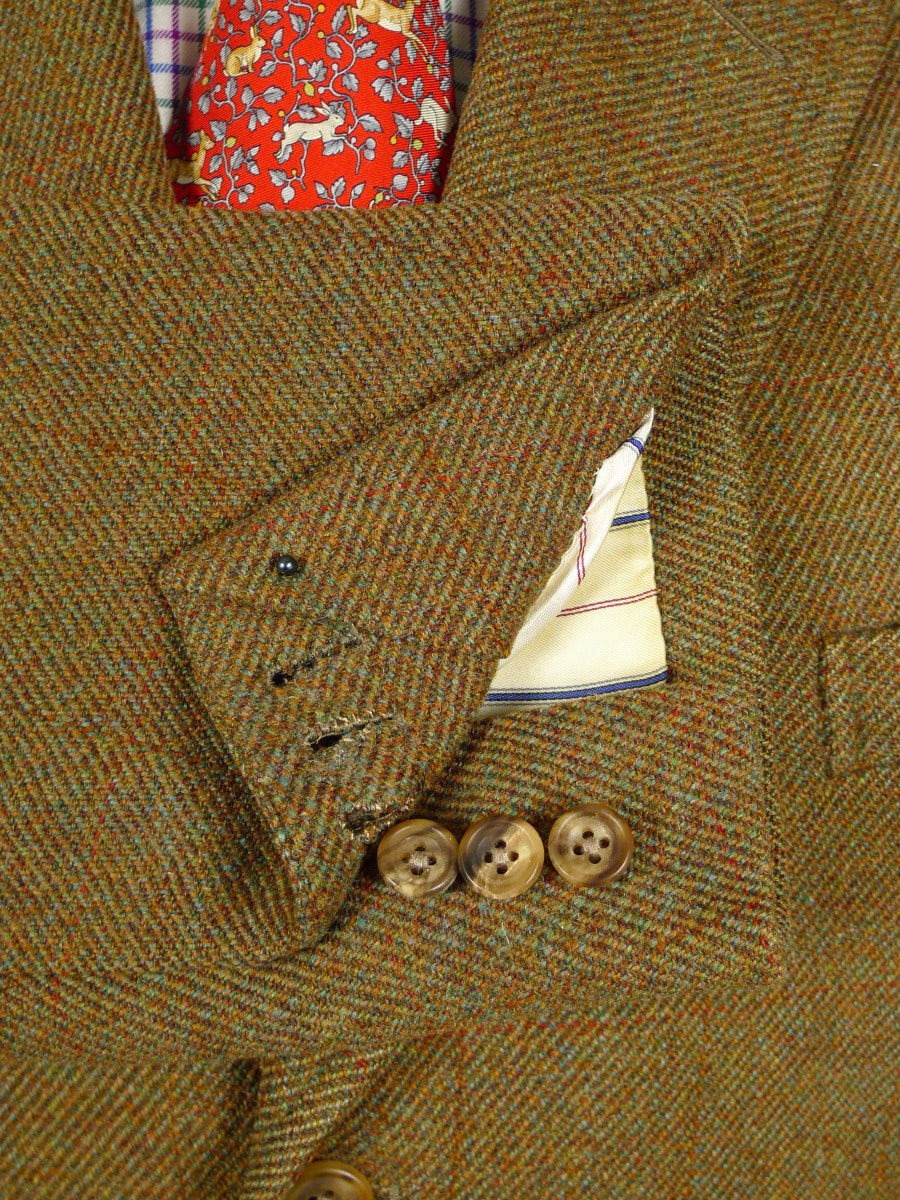 21/0209 extra heavyweight vintage frank hall bespoke brown wp check tweed jacket 43-44 regular to long