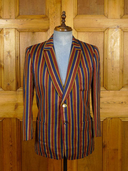 21/0241 vintage british striped wool boating blazer 38-39 short
