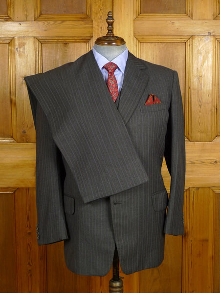 21/0243 vintage 1980 savile row bespoke heavyweight worsted grey / blue tram-stripe worsted 3-piece suit 42 regular
