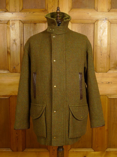 21/0303 Superb norton & sons savile row bespoke green tweed field sports shooting jacket coat 44-46