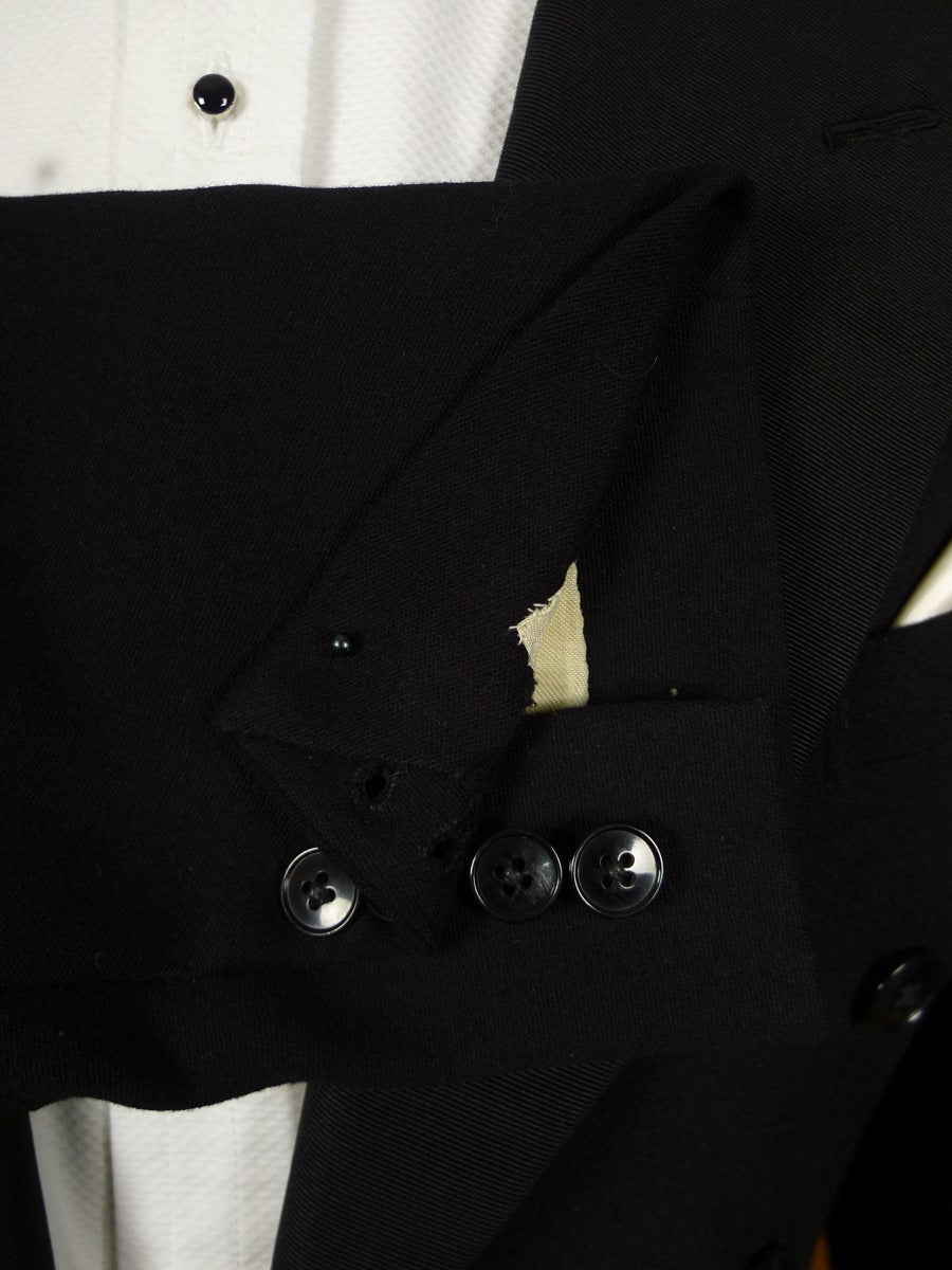 21/0316 vintage 1955 savile row bespoke black barathe wool / grosgrain silk evening tails 2-piece suit 36 long