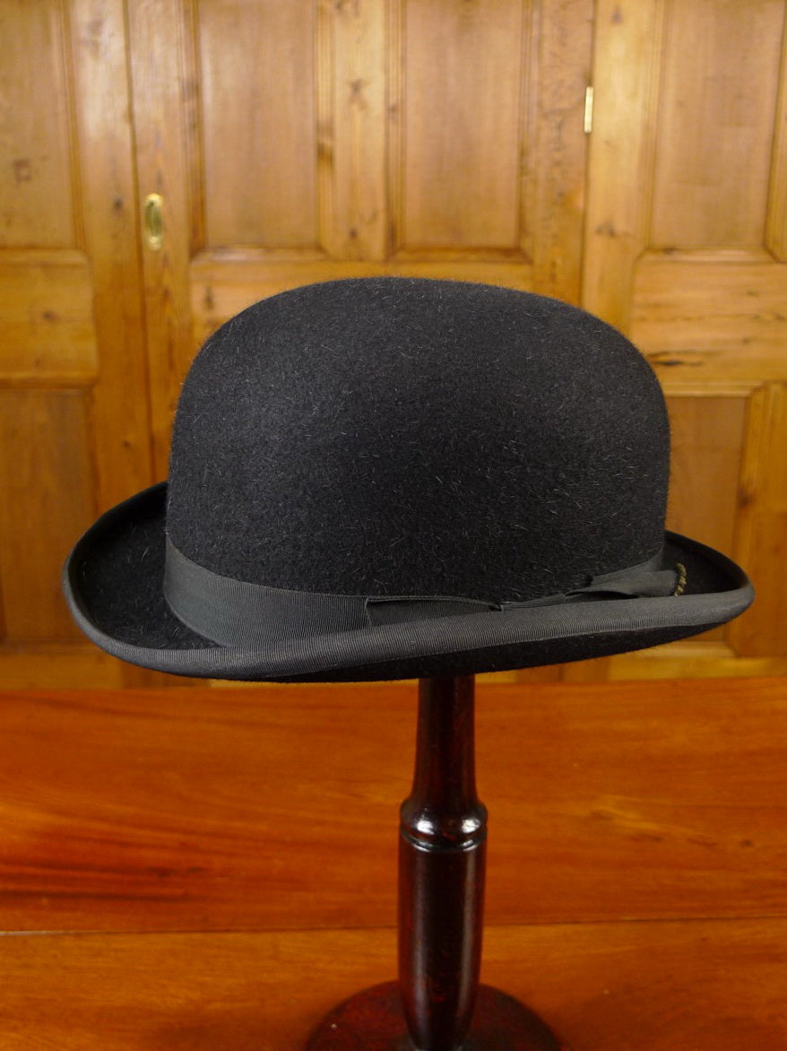 21/0343 vintage cunningham & co edinburgh black felt bowler hat uk 7 1/4 58 cms