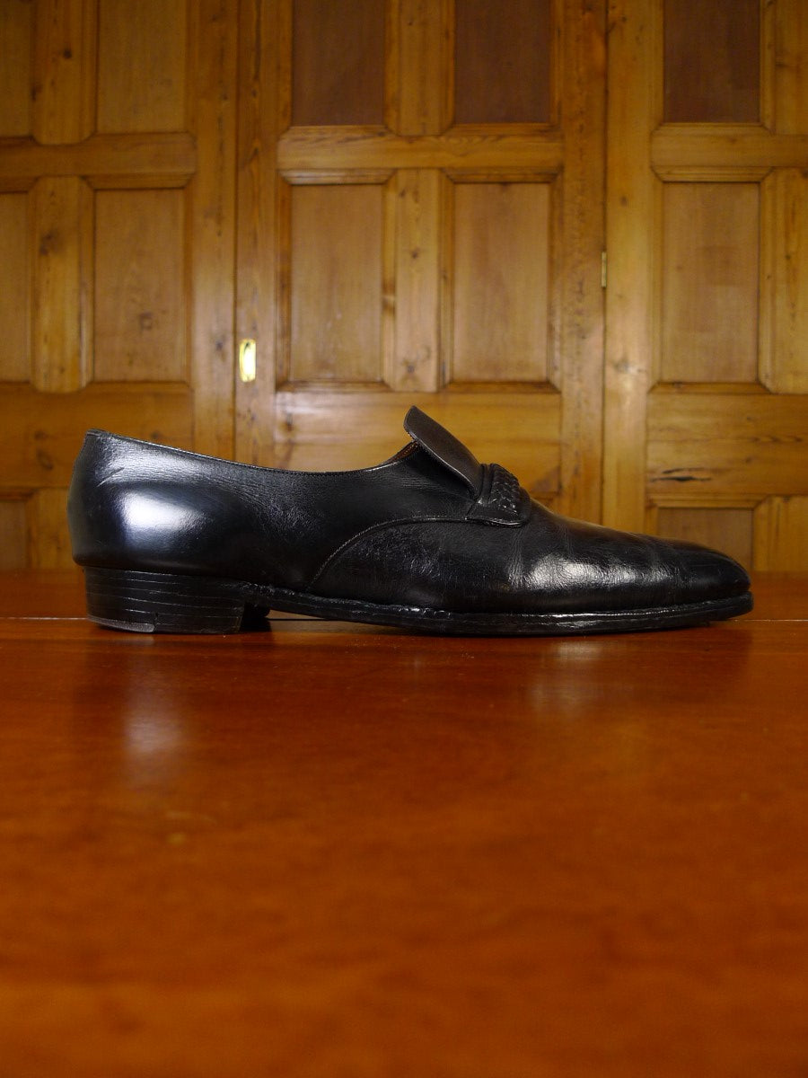 21/0370 superb vintage wildsmith jermyn street bespoke black leather slip-on shoe uk 12