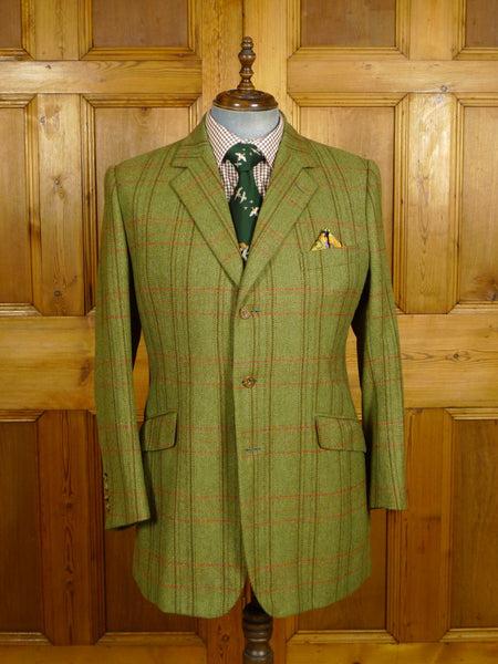 21/0396 superior bespoke tailored green windowpane check islay scottish tweed jacket 43-44 long