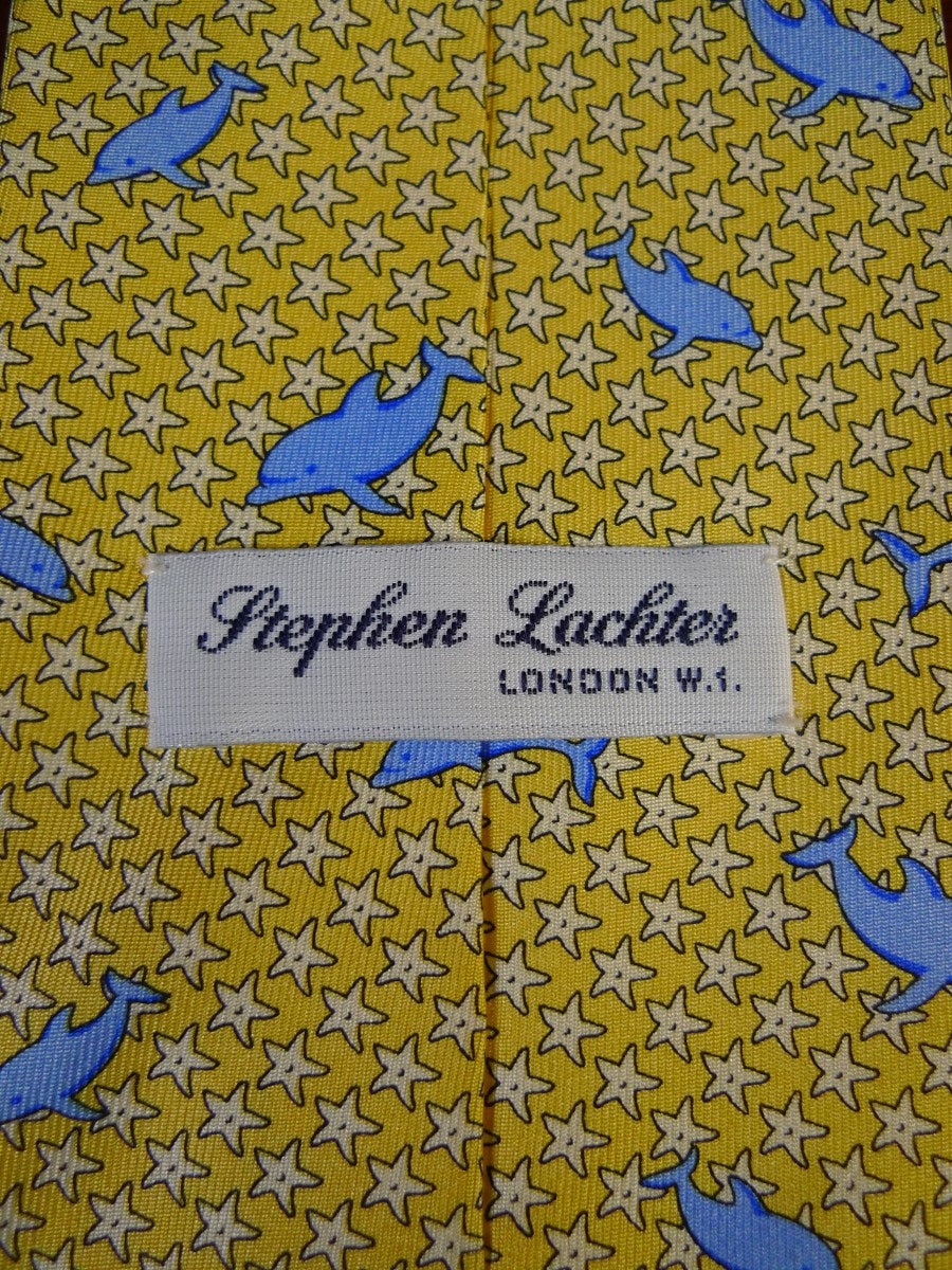 21/0408 immaculate stephen lachter savile row lemon / blue dolphin motif silk tie