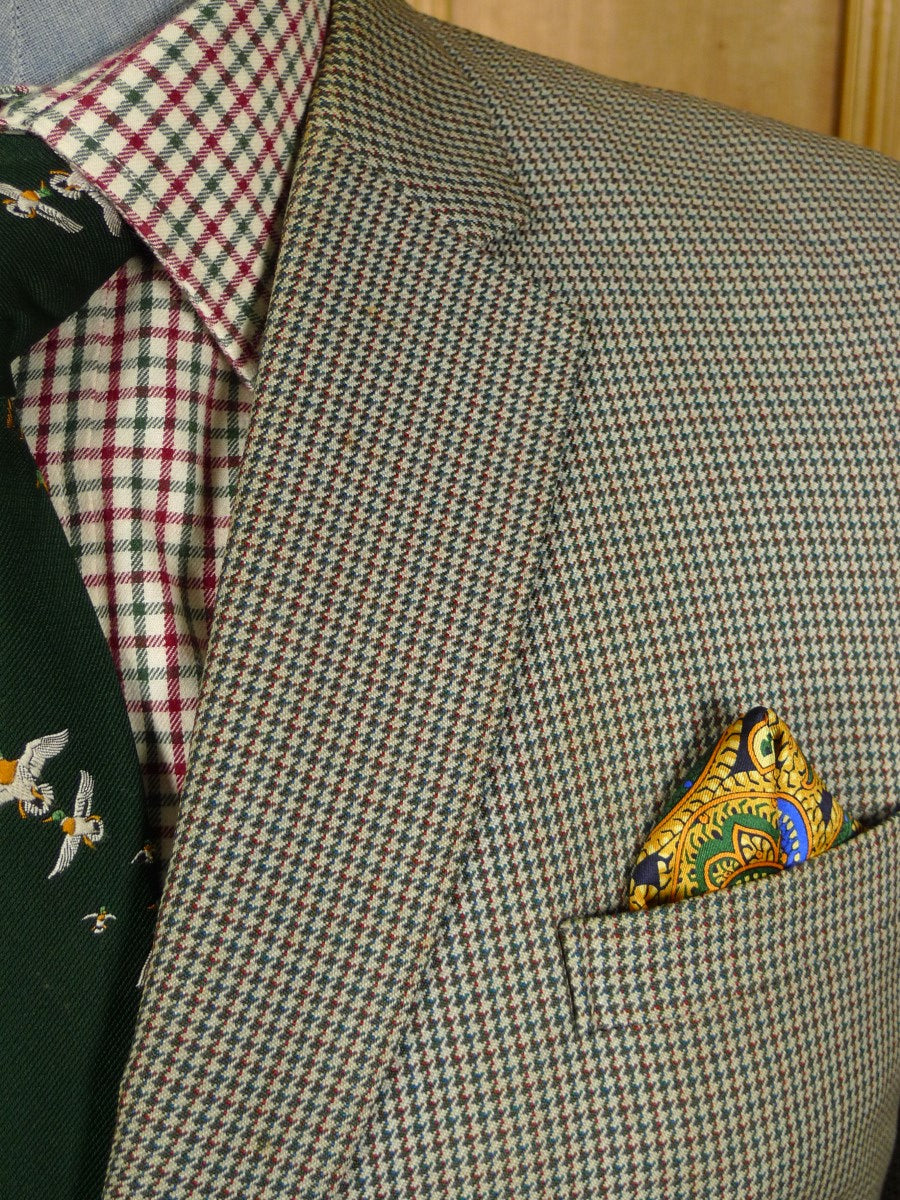 21/0424 vintage heavyweight bespoke tailored green / brown dogtooth check worsted country suit 44 short