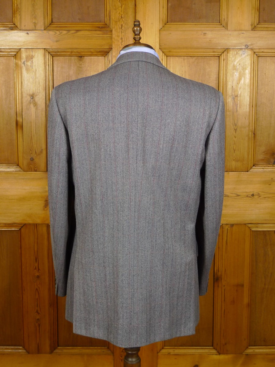 21/0436 vintage chester barrie hand tailored grey herringbone wool suit w/ red overcheck 48 regular to long
