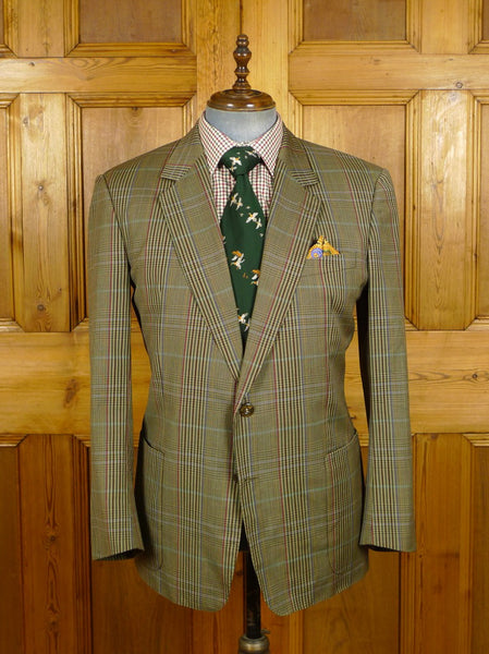 21/0481 vintage burberrys glen check lightweight worsted sports jacket 43-44 short to regular