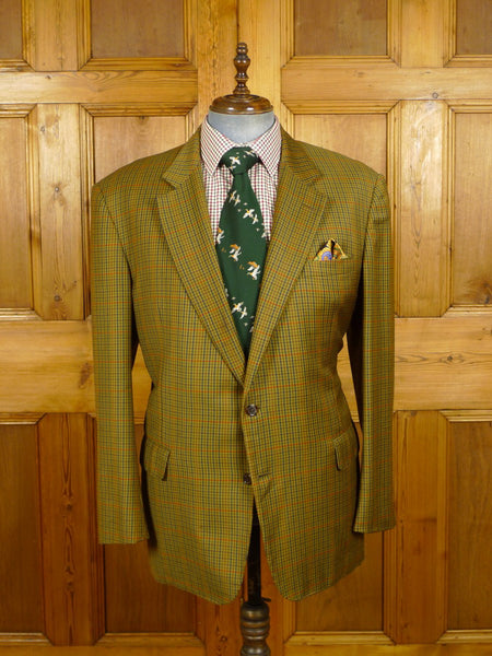 21/0475 vintage chester barrie savile row hand tailored brown gun check mid-weight wool & 25% cashmere sports jacket blazer 45 long