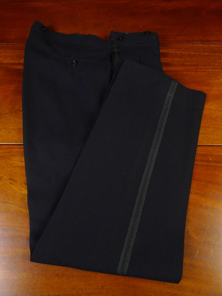 21/0528 genuine 1940s vintage savile row bespoke midnight blue high-rise evening trouser 33-37