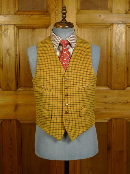 20/1125 vintage 1950s 1960s tattersall check doeskin wool waistcoat 39 short to regular