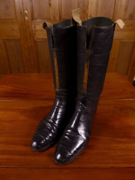 17/0183 superb vintage black leather riding hunting boots w/ original trees uk 7