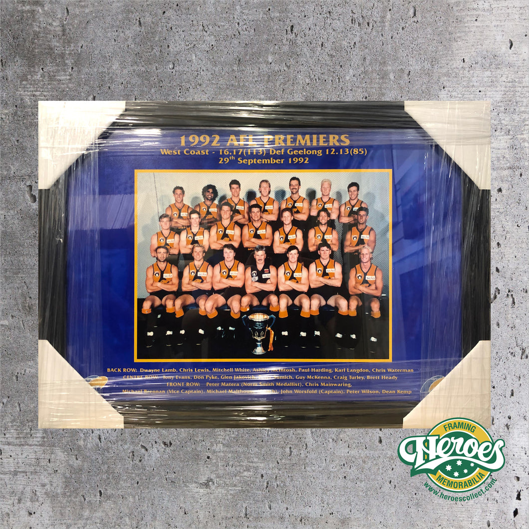 1992 WCE Premiership Team Photo - Heroes Framing & Memorabilia