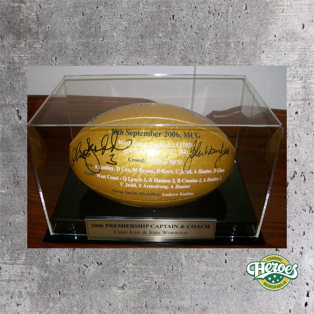 Chris Judd, John Worsfold Signed 2006 Premiership Ball - Heroes Framing & Memorabilia