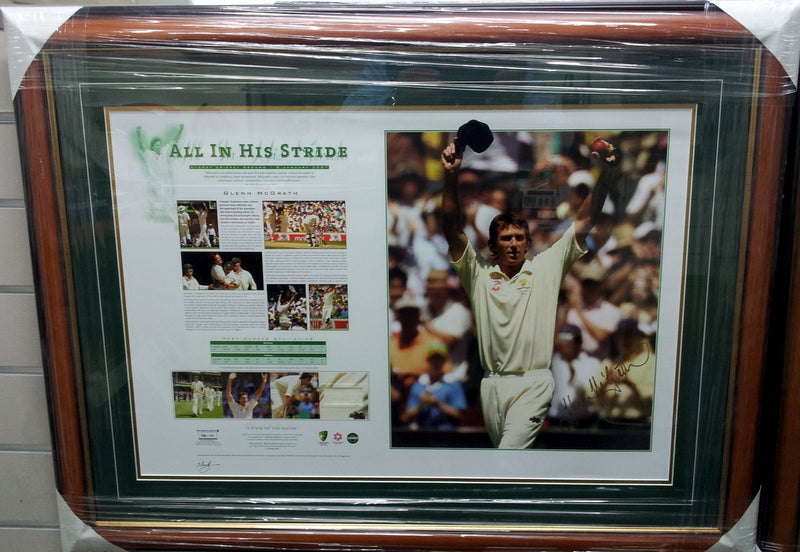 Glenn McGrath Signed 'All In His Stride' Last Test Farewell Print - Heroes Framing & Memorabilia