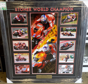CASEY STONER SIGNED LTD ED DUAL CHAMPIONSHIP PANO PHOTO - Heroes Framing & Memorabilia