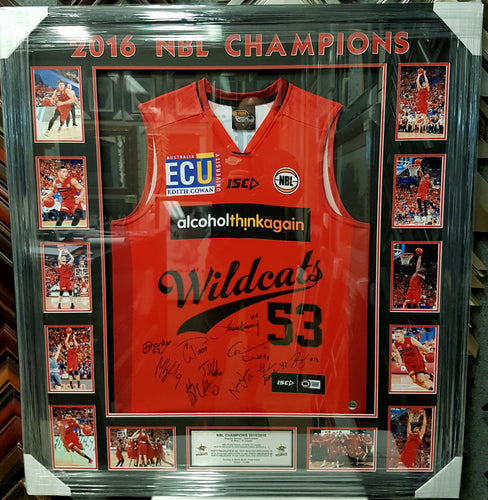 PERTH WILDCATS 2016 CHAMPIONSHIP TEAM SIGNED FRAMED JERSEY