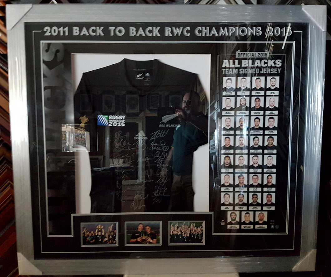 ALL BLACKS BACK TO BACK WORLD CHAMPIONS JERSEY SIGNED. COA - Heroes Framing & Memorabilia