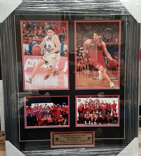 DAMIAN MARTIN BACK TO BACK NBL CHAMPIONSHIP SIGNED COLLAGE. - Heroes Framing & Memorabilia