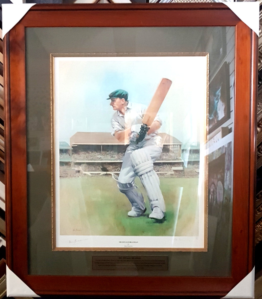 SIR DONALD BRADMAN SIGNED LTD ED ALAN FEARNLEY PRINT - Heroes Framing & Memorabilia