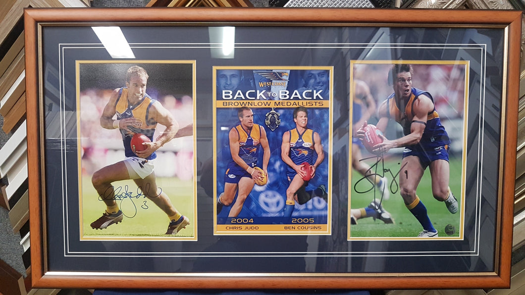WCE Back to Back Signed Brownlow Medallist Judd and Cousins - Heroes Framing & Memorabilia
