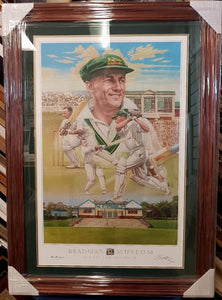 DON BRADMAN SIGNED LTD ED BRIAN CLINTON PRINT - Heroes Framing & Memorabilia