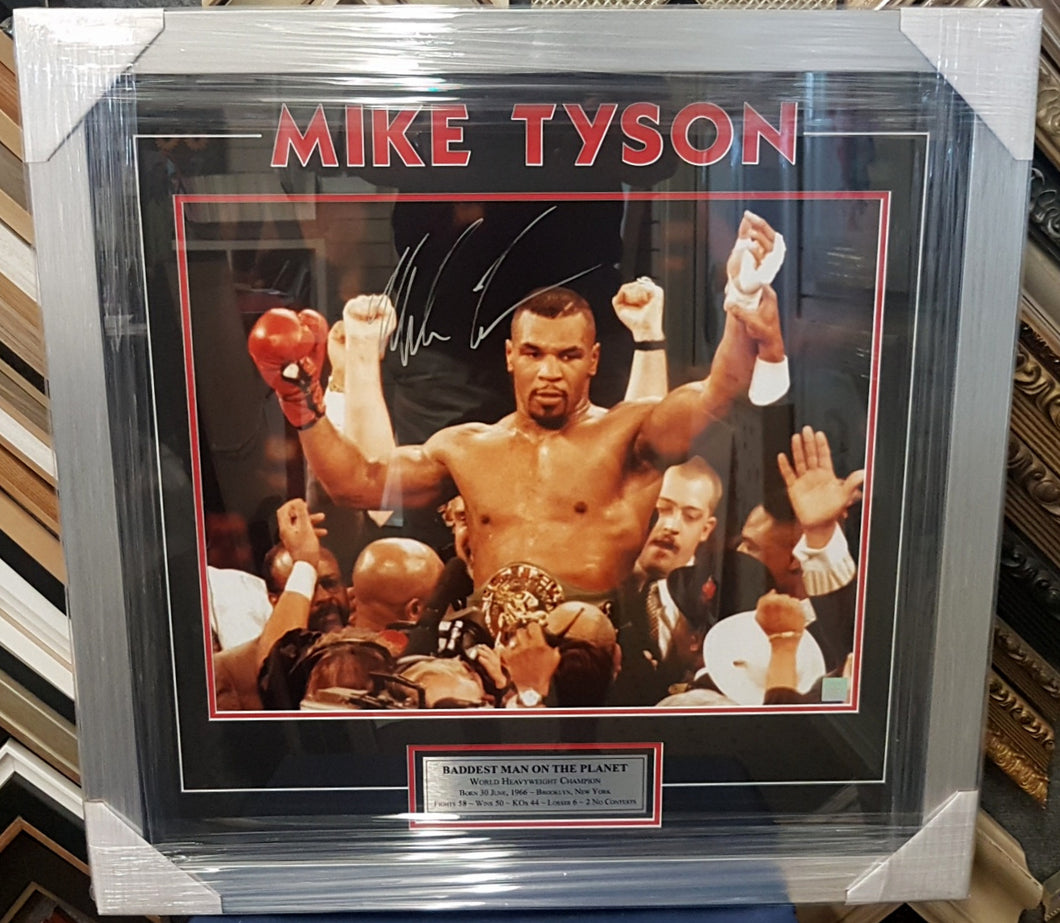 MIKE TYSON SIGNED PHOTO FRAMES WITH COA - Heroes Framing & Memorabilia