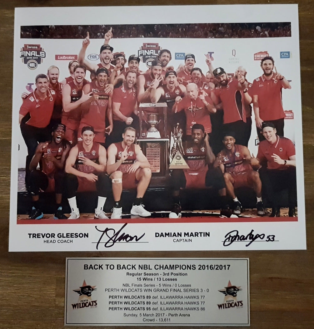 WILDCATS BACK TO BACK CAPTAIN/COACH DUAL SIGNED PRINT. COA - Heroes Framing & Memorabilia